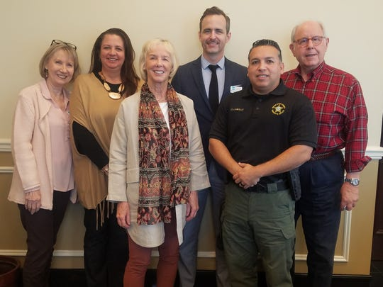 Chris Steinkrauss, left, Karen Malits, Lorna Stengel, Roman Ortega-Cowan, Lt. Joseph Abollo and Judge Paul Kanarek recently joined the Literacy Services of Indian River County's board of directors.