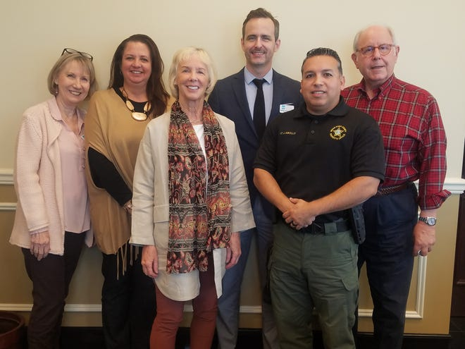 Chris Steinkrauss, left, Karen Malits, Lorna Stengel, Roman Ortega-Cowan, Lt. Joseph Abollo and Judge Paul Kanarek recently joined the Literacy Services of Indian River County's board of directors.