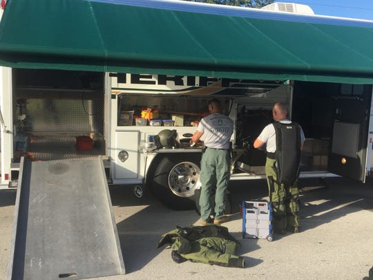 The bomb disposal unit from the St. Lucie County Sheriff's Office was on scene of a suspicious vehicle Monday, Dec. 16, 2019, on 16th Street at the intersection with Highland Avenue in Vero Beach.