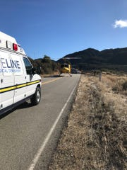 A Ventura County helicopter landed on Highway 33 Sunday morning in response to a motorcycle crash near Cherry Creek within the Los Padres National Forest.