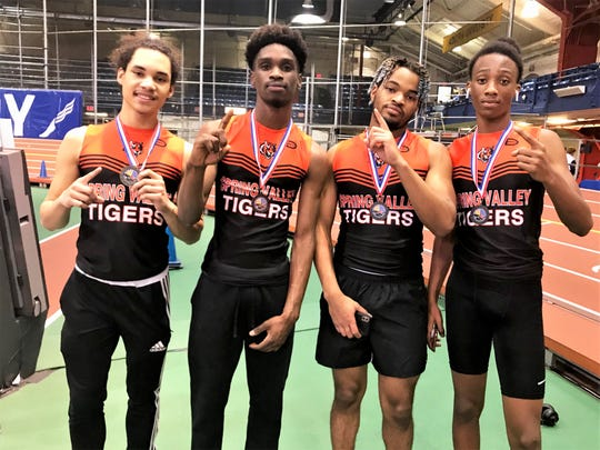 Spring Valley's Dyran Hagans, Wildgy Mettellus, Thesmond Jones and James Thezan after winning  the boys Section 1 Kickoff 3 relay Dec. 15, 2019.