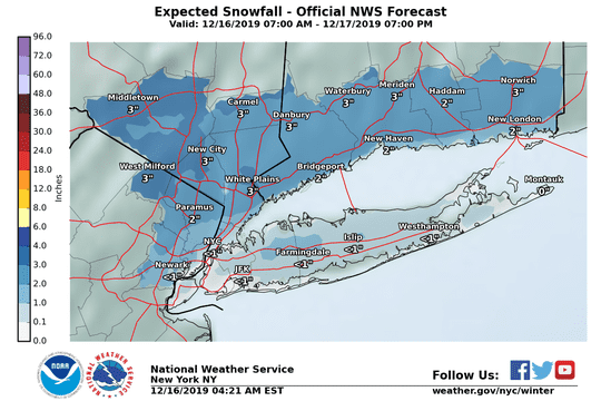 Snow could hit the Lower Hudson Valley on Monday and Tuesday.