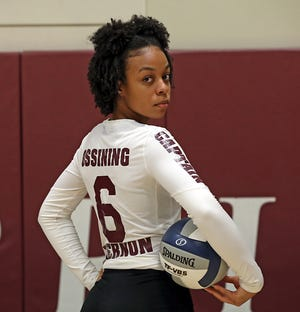 Ossining's Mychael Vernon, who is Westchester/Putnam Volleyball Player of the year was photographed at the high school on Dec. 13, 2019.