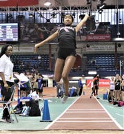 Valhalla's Sara Bartlett takes fight in the Section 1 Kickoff 3 girls long jump Dec. 15, 2019 at The Armory. The junior won with a big personal-best 16-09.5 jump.