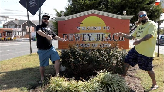 """Morgan Shank and 302Awesome.com's Robert DiGiacomo in the Dewey Beach-themed music video for """"Dew Town Road,"""" a parody of Lil Nas X's hit song """"Old Town Road""""."""