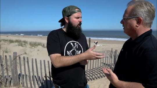 """Dewey Beach Mayor TJ Redefer (right) makes a cameo in """"Dew Town Road""""."""