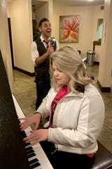 Singer Michael Sherry performing a jazz standard with pianist Alyssa Hall. Michael Sherry & the Bourbon Chasers will perform at 6th Street Winery at 8 p.m. Saturday.