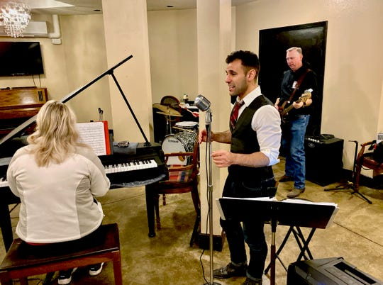 Singer Michael Sherry performing a jazz standard with pianist Alyssa Hall and bassist Shane Perry. Michael Sherry & the Bourbon Chasers will perform at 6th Street Winery at 8 p.m. Saturday.