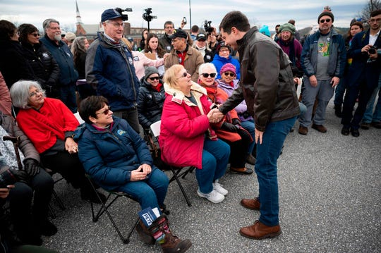Democratic presidential hopeful Pete Buttigieg speaks with supporters prior to a canvassing Kick-Off in Claremont, NH, on Nov. 10, 2019.