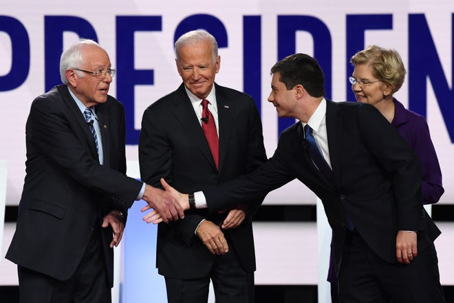 More than a generation separates Pete Buttigieg, the youngest Democratic presidential candidate, from the three oldest contenders: Vermont Sen. Bernie Sanders, former Vice President Joe Biden, and Massachusetts Sen. Elizabeth Warren.