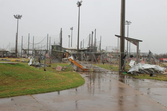 The Johnny Downs Sports Complex in Alexandria was heavily damaged Monday by a storm that moved through the area.