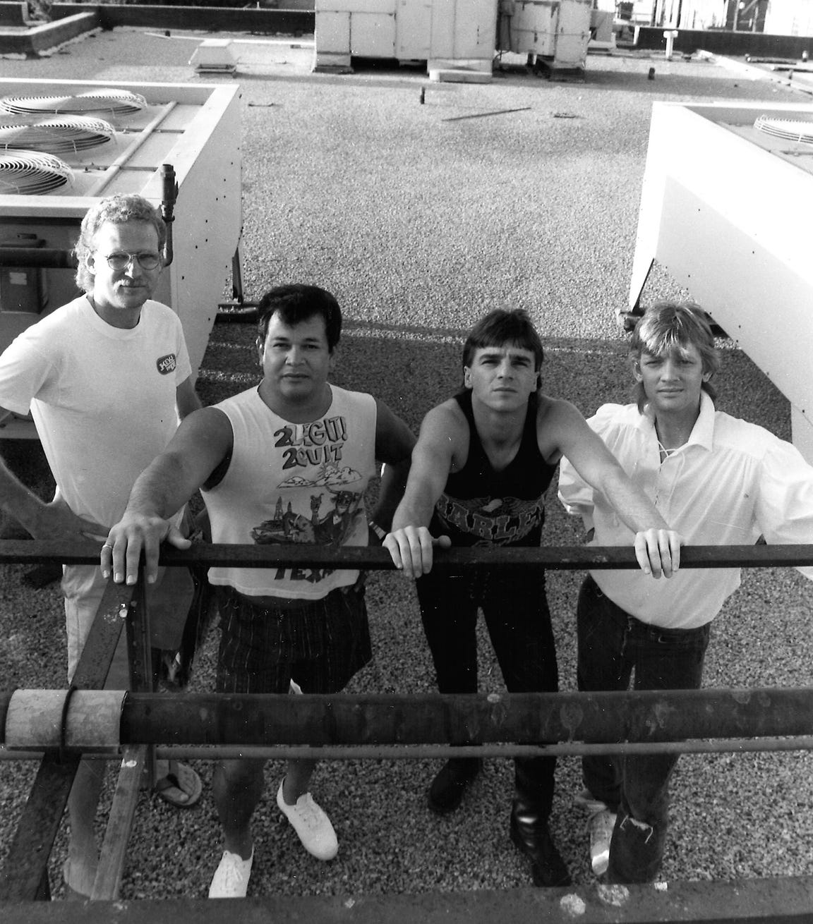 DRB, from left, Steve Couch, Cecil Tijerina, Delbert McNeill and Doug Roysden, pose for a band photo atop the Reporter-News in the 1990s.