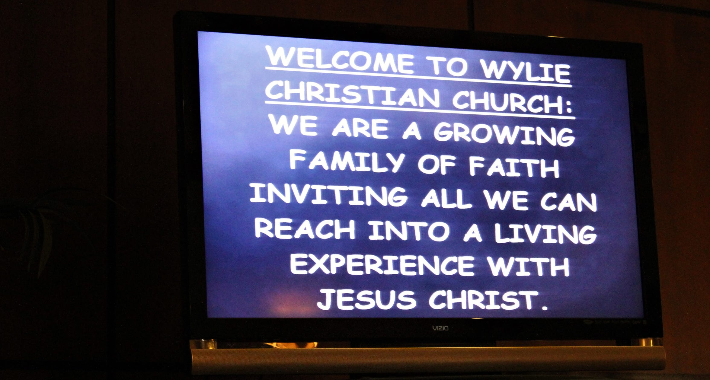 A message on a video screen at Wylie Christian Church. Doug Roysden has been the pastor at the Wylie-area church for since late 2001.