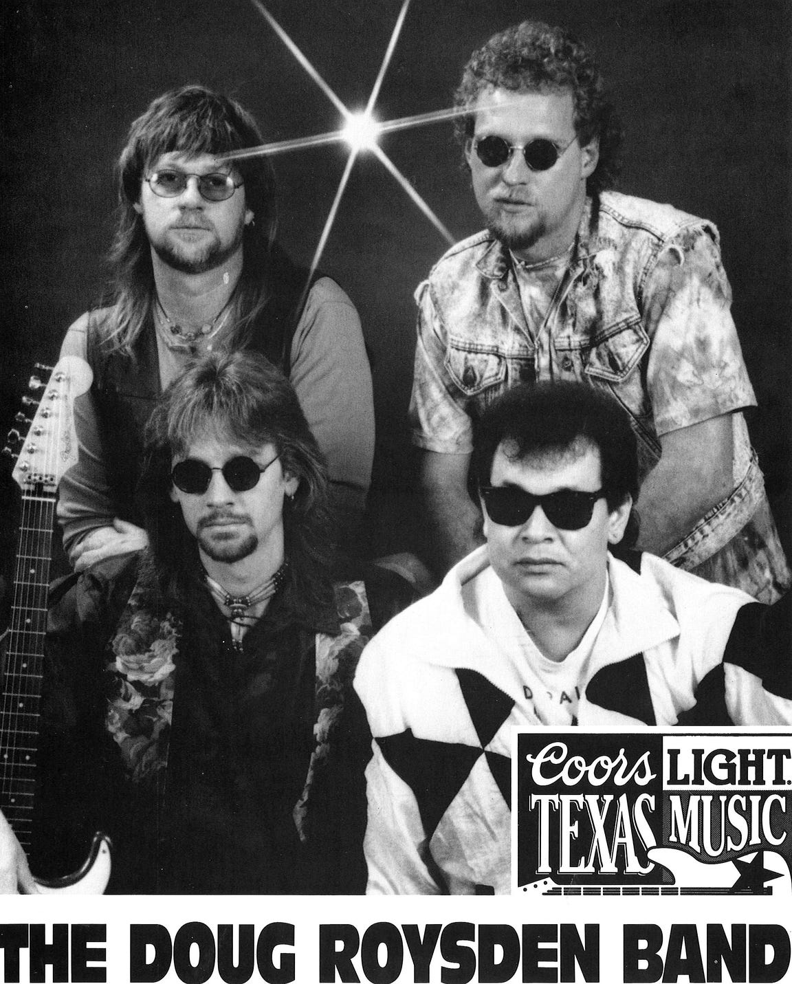 A later publicity photo for DRB shows the guys in shades and three with facial hair. Clockwise from lower left are Doug Roysden, Delbert McNeill, Steve Couch and Cecil Tijerina.