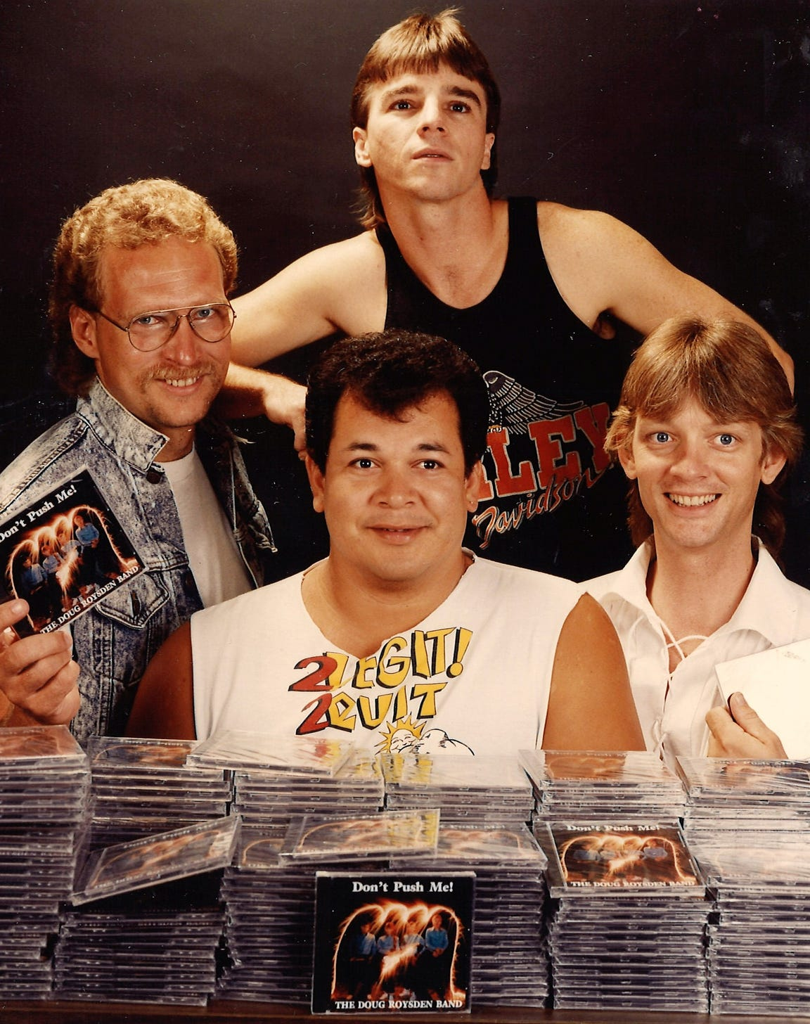 """In 1993, DRB released a fully produced CD titled """"Don't Push Me."""" The guys in the band were, clockwise from left, Steve Couch, Delbert McNeill, Doug Roysden and Cecil Tijerina."""