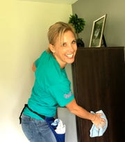 Heather Scheffers of Jeannie Cleaning participates in a Cleaning for Cancer Day on Oct. 15, 2019 through the non-profit Cleaning for a Reason.