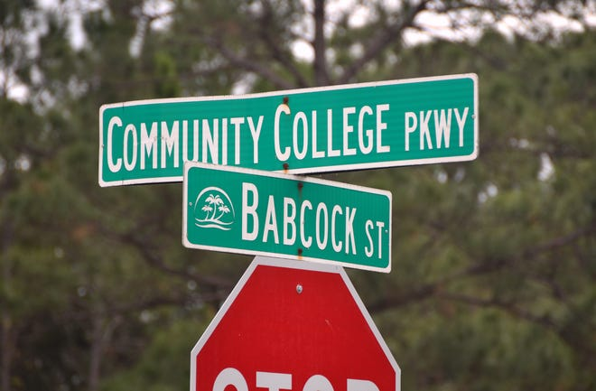 A roundabout is planned at Babcock Street and Community College Parkway as part of a future four-lane widening project.