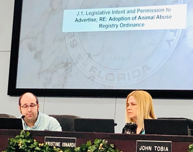 Brevard County Commission Chair Bryan Lober and Commissioner Kristine Isnardi both support Lober's proposed ordinance to create a countywide animal abuse registry. A final vote on the measure is likely to occur in January.