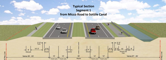 This artist's rendition depicts a future four-lane Babcock Street between Micco Road and the Sottile Canal.