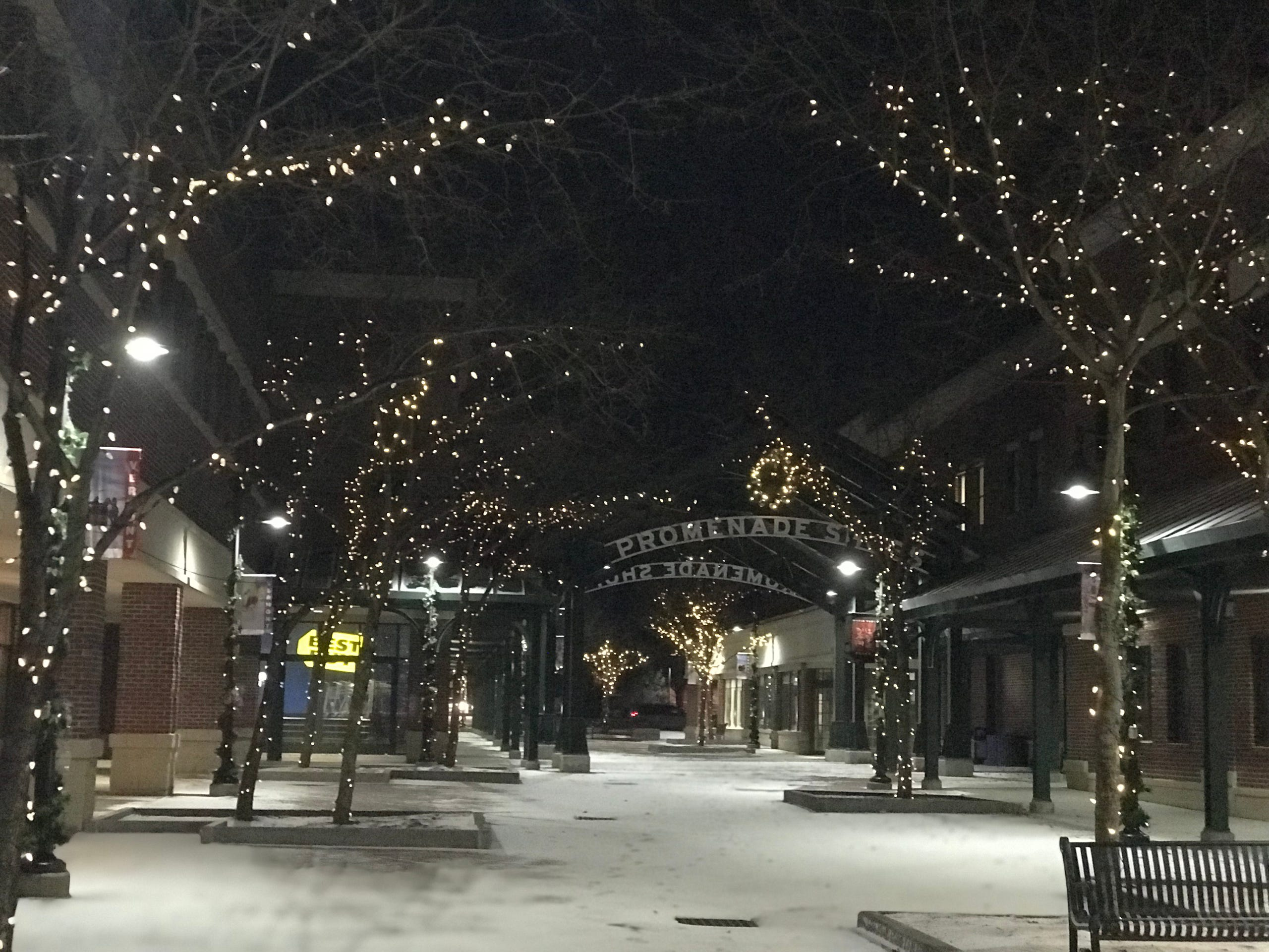 Williston's Maple Tree Place decorated for the holiday season. December 2019.