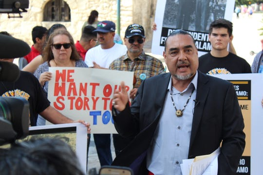 Ramon Vasquez at demonstration near the  Alamo in August 2019.