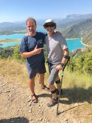 Wim Hof (left) and Jonathan Greenfield pause for a portrait in Spain after a morning breathing session, after Greenfield was diagnosed with amyotrophic lateral sclerosis. The Cherry Hill native and documentary filmmaker is using Hof's meditation practice to help him cope with the disease.