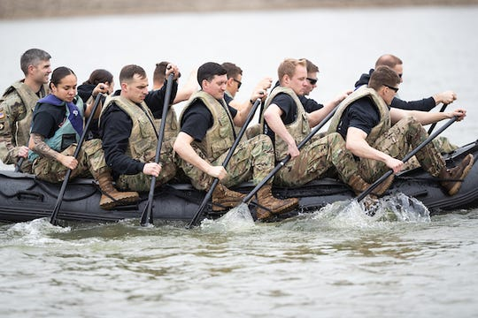 Cadets train on Zodiac boat in Cumberland River