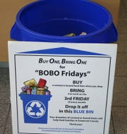 Look for the blue BOBO Fridays bins at various county locations.