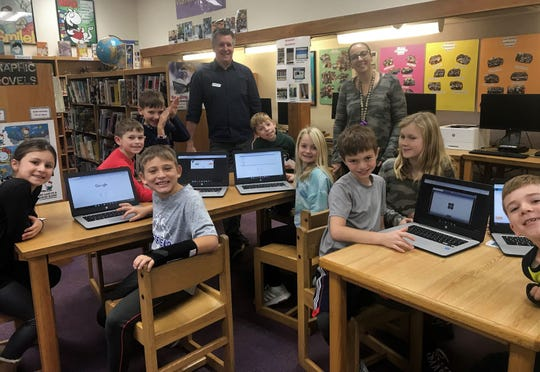 "Third graders at Jefferson School participated in ""Hour of Code"" activities during Computer Science Education Week with the help of code.org volunteer and Westfield resident Charlie Schafer (back left)."