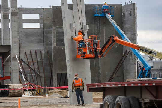 Precast concrete for the adult detention facility begins at the Wayne County Justice Center in midtown Detroit, photographed on Tuesday, Dec. 17, 2019. The area for the adult detention center will be 504,406 sq ft. The center, at 1,016,840 sq ft, is projected to be  finished in 2022.