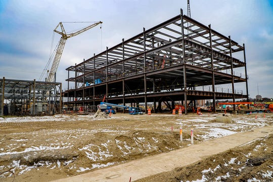 Five levels of the seven floors of the courthouse have been completed so far at the Wayne County Justice Center in midtown Detroit, photographed on Tuesday, Dec. 17, 2019. The area for the courthouse will be 253,178 sq ft. By the end of 2020 Barton Malow expects structural steel, precast concrete and enclosures to be finished.