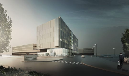 Rendering shows how Wayne County's new Criminal Justice Center will look when it opens in the later half of 2022. The tall building in the foreground will be the new seven-story courthouse.