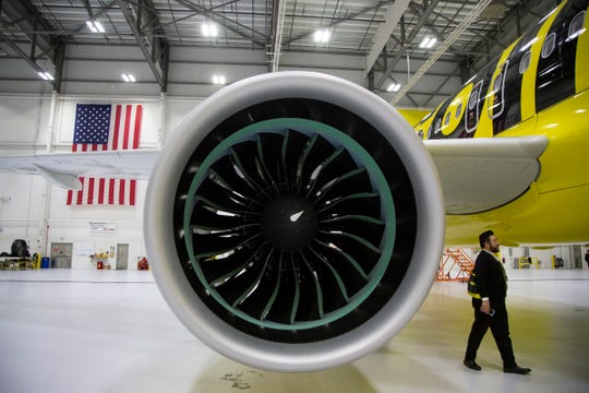 Spirit's new A320neo aircraft use more fuel-efficient Pratt & Whitney engines.