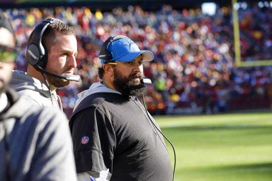 Detroit Lions coach Matt Patricia during the first half against the Washington Redskins on Sunday, Nov. 24, 2019 at FedExField in Landover, Md.