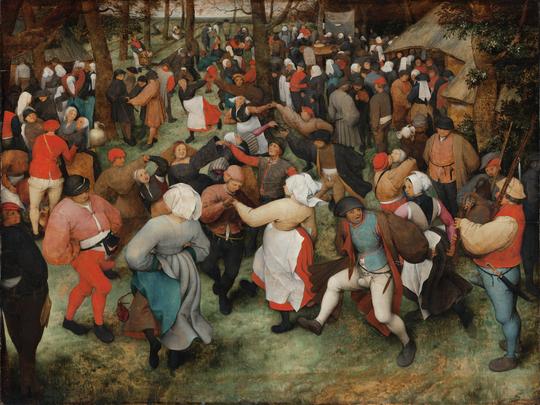 "Pieter Bruegel the Elder's ""Wedding Dance"" as it appears today at the Detroit Institute of Arts."