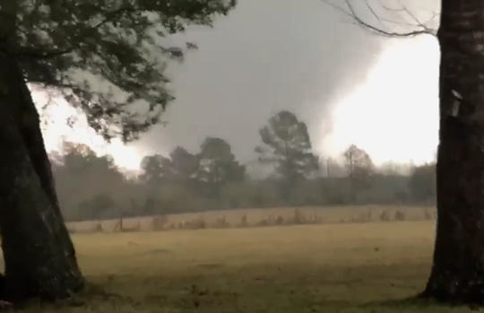 This photo provided by Heather Welch show a tornado in Rosepine, La., Monday, Dec. 16, 2019. S