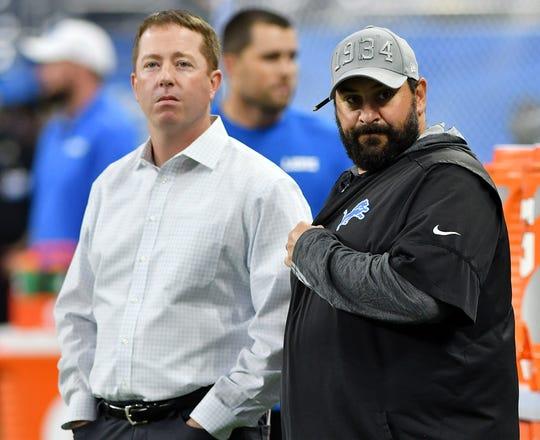 Lions general manager Bob Quinn, left, and head coach Matt Patricia.