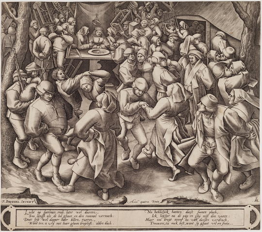 """Bruegel's 1566 """"The Wedding Dance"""" was so popular, a number of prints were made that imitated it, including this one from Pieter van der Heyden."""