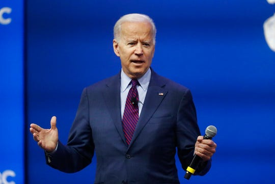 Democratic presidential candidate former Vice President Joe Biden, one of seven scheduled Democratic candidates participating in a public education forum, makes opening remarks, Saturday, Dec. 14, 2019, in Pittsburgh.