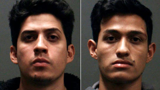 This undated booking photo provided by the Chino Police Department shows two brothers, Rony Castaneda Ramirez, left, and Josue Castaneda Ramirez who were arrested after allegedly fatally beating a man Sunday, Dec. 15, 2019 at the reception of his wedding in Chino, Calif.