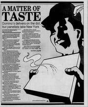 Panelists picked Taste of New York pizza over Domino's in a 1989 taste test for The News-Press.