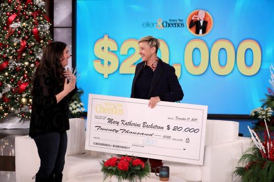 "Ellen DeGeneres rewards Fort Myers blogger Mary Katherine Backstrom for her good deeds during a taping of ""The Ellen DeGeneres Show."""