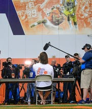 Clemson quarterback Trevor Lawrence talks with media inside the Poe Indoor practice facility Tuesday, December 17, 2019. Clemson is preparing for the College Football Playoff semi-final game against Ohio State University  to be played December 28 in Glendale, Arizona.