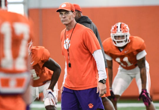 Clemson defensive coordinator Brent Venables watches over a drill during practice at Poe Indoor Facility in Clemson, S.C. Tuesday, December 17, 2019.