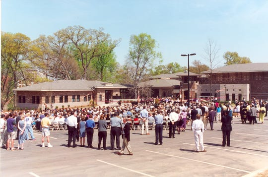 Hundreds showed up to the grand opening of the Governor's School for Arts and Humanities in 1999.