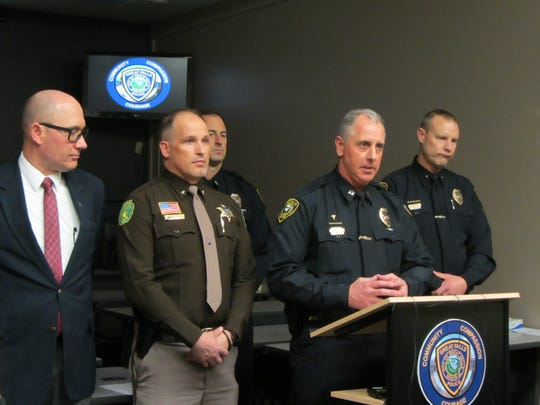 Great Falls Police Department Captain Jeff Newton relates the events of a triple homicide investigation Tuesday, Dec. 17, 2019. In the background stand, from left, Cascade County Attorney Josh Racki, Cascade County Sheriff Jesse Slaughter, Great Falls Police Department Public Information Officer Lt. Doug Otto and GFPD Chief Dave Bowen.