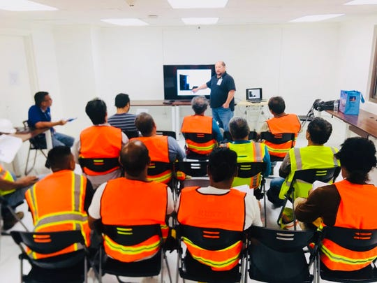 In this file photo, Guam OSHA On-site Consultation Safety Administrator Jesse Pangelinan conducts a free onsite safety clinic to help ensure companies enact policies and procedures aimed at protecting their workers.