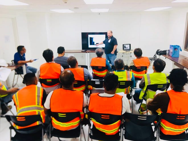 Guam OSHA On-site Consultation Safety Administrator Jesse Pangelinan conducts a free onsite safety clinic to help ensure companies enact policies and procedures aimed at protecting their workers.