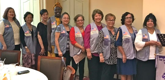 Five new members were inducted as Guam Sunshine Lions on Nov. 22 during a dinner meeting at the VIP Restaurant in Tumon. Sponsors and new members from left: Doris Cruz, Lien Samiana (sponsored by Cruz), Marietta Camacho, Coura Keita (sponsored by Camacho), Marie Salas, Rose Gumataotao (sponsored by Salas), Sita Crisostomo, Jill Pangelinan, (sponsor of Crisostomo), Mary Castro, and Connie Rivera (sponsor of Castro). The new Lions join the largest service organization, Lions Clubs International, with more than 1.4 million members worldwide in more than 210 countries. Lions are committed to improving the lives of the less fortunate in their communities.