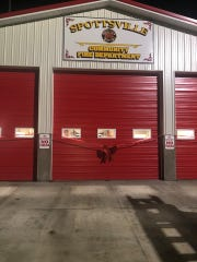 The bay doors at the newly renovated Spottsville Fire Department (December 2019).